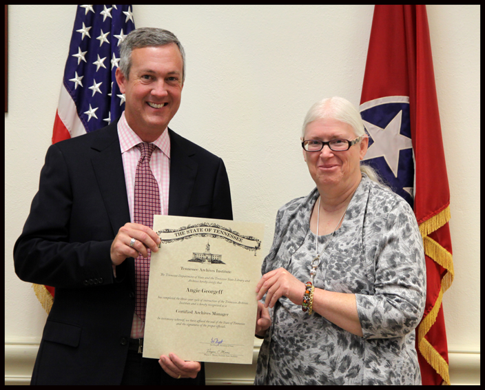 L to R: Secretary of State Tre Hargett pictured with Angie Georgeff of the Unicoi County Public Records Commission