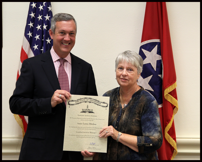 L to R: Secretary of State Tre Hargett pictured with Anna Laura Bledsoe of the Hardeman County Archives