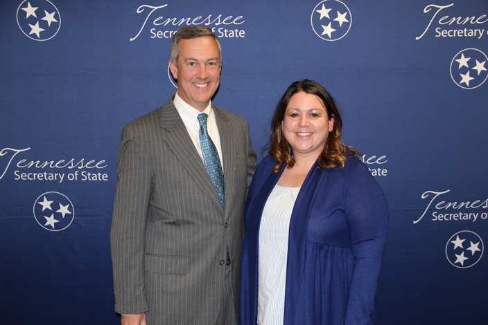 L to R: Secretary of State Tre Hargett with Blair Lynch of Elmore Park Middle School
