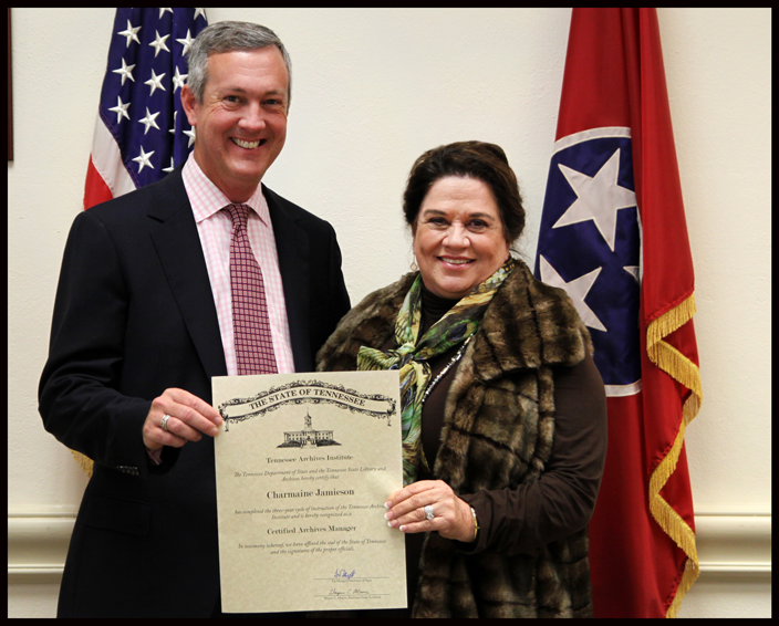 L to R: Secretary of State Tre Hargett pictured with Charmaine Jamieson of the Cheatham County Historical & Genealogical Association