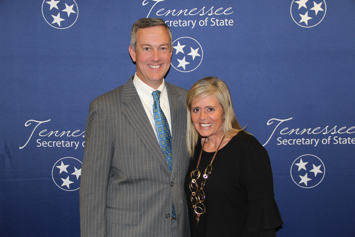 L to R: Secretary of State Tre Hargett with Cindy Bellamy of John Adams Elementary School