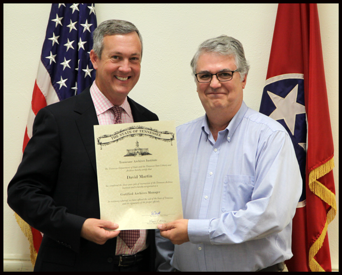 L to R: Secretary of State Tre Hargett pictured with David Martin of the Tennessee Conference, United Methodist Archives