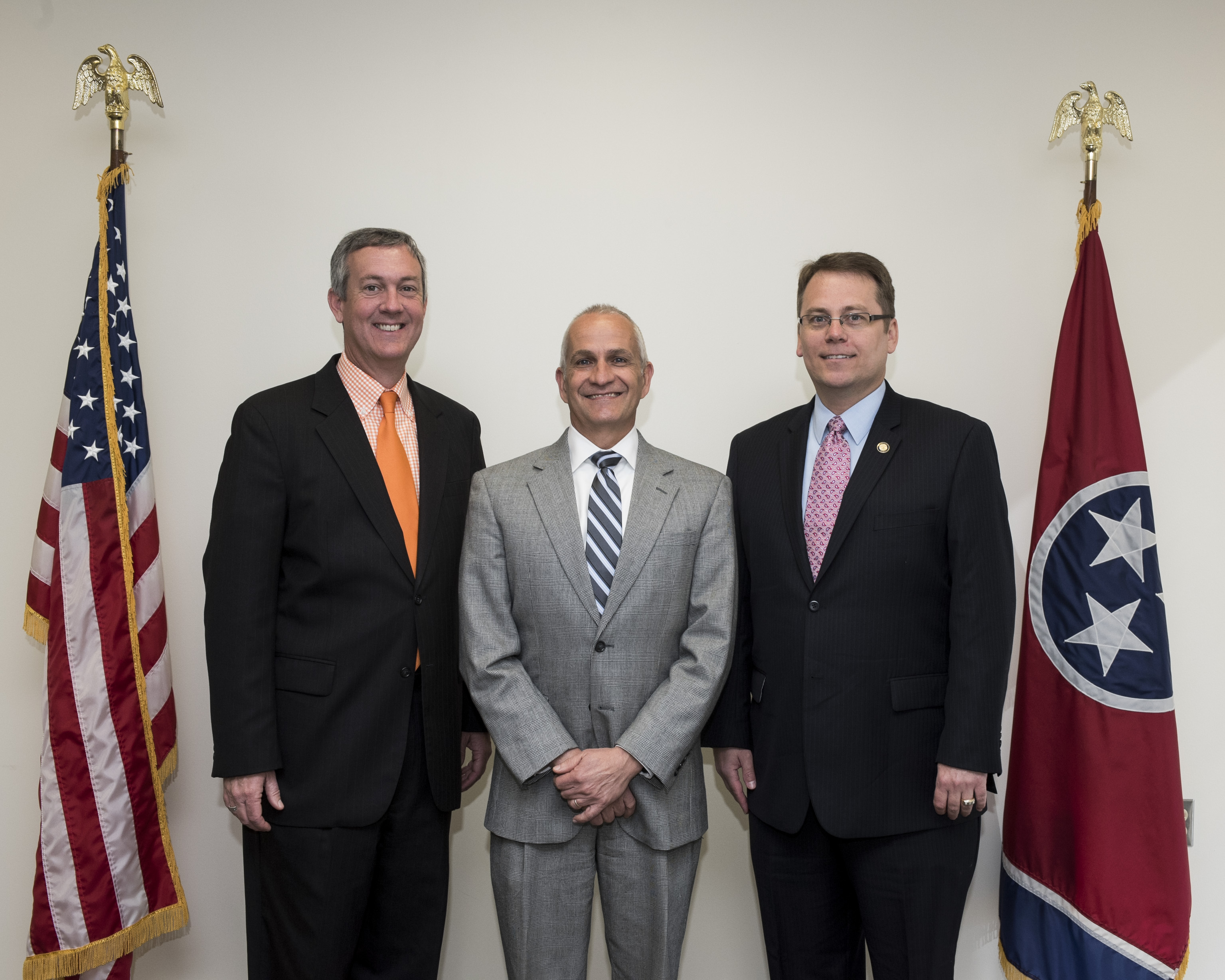 L to R: Secretary Hargett, Davidson County Administrator of Elections Jeff Roberts and Coordinator of Elections Mark Goins May 2, 2017.
