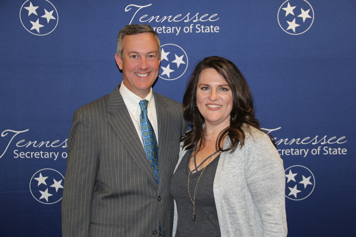 L to R: Secretary of State Tre Hargett with Deb Stout of North Cumberland Elementary School