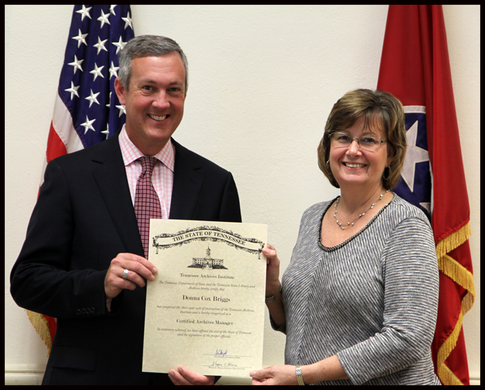 L to R: Secretary of State Tre Hargett pictured with Donna Cox Briggs of the Washington County Archives