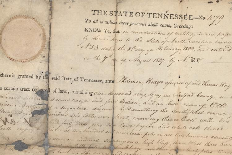 Early North Carolina / Tennessee Land Grants at the