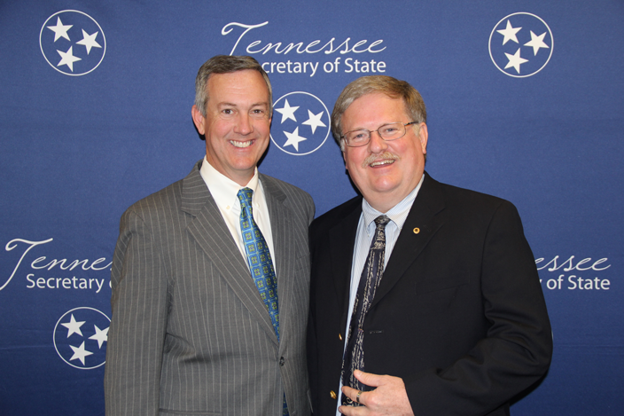 L to R: Secretary of State Tre Hargett with Gordon Sisk of Karns High School