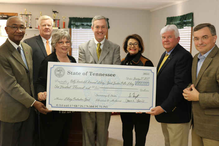 L to R: Rep. Johnny Shaw (D-Bolivar), Hardeman County Mayor Jimmy Sain, librarian Wanza Taylor, Sec. Tre Hargett, Sen. Dolores R. Gresham (R-Somerville), Grand Junction Mayor Curtis Lane and Rep. Ron M. Gant (R-Rossville) present a library construction grant in Grand Junction, TN Friday, Jan. 21, 2017