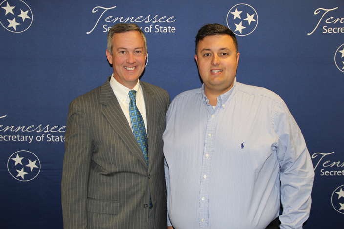 L to R: Secretary of State Tre Hargett with Joshua Parker of Campbell County High School