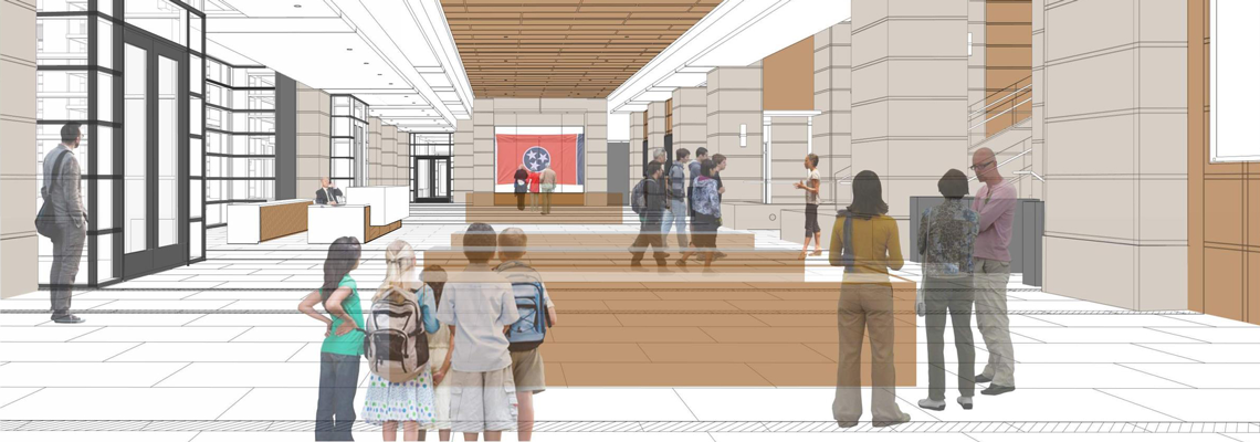 Rendering of the future Tennessee State Library and Archives lobby