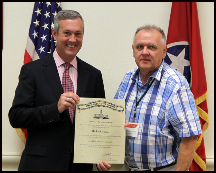 L to R: Secretary of State Tre Hargett pictured with Michael Boniol of the Cumberland County Archives