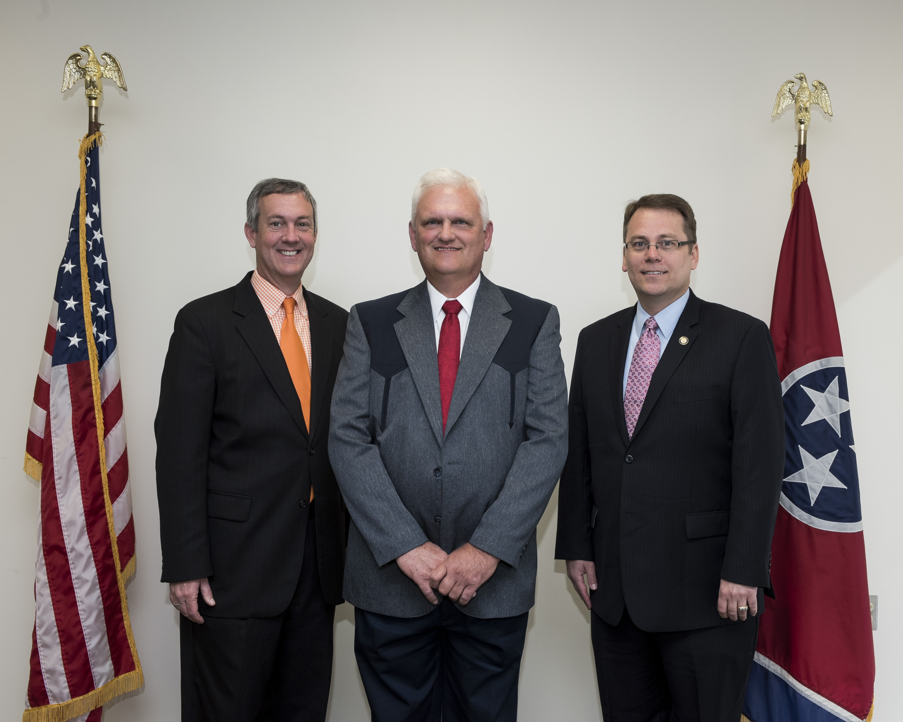 L to R: Secretary Hargett, Moore County Administrator of Elections Jim Sanders and Coordinator of Elections Mark Goins May 2, 2017.