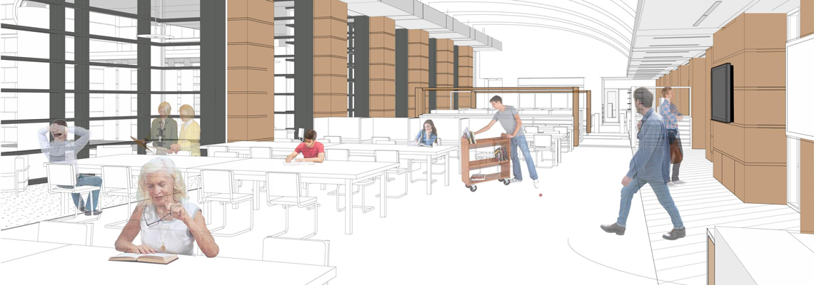 Rendering of the future Tennessee State Library and Archives reading room