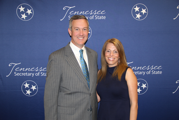 L to R: Secretary of State Tre Hargett with Rebecca Marino of Arnold Memorial Elementary School