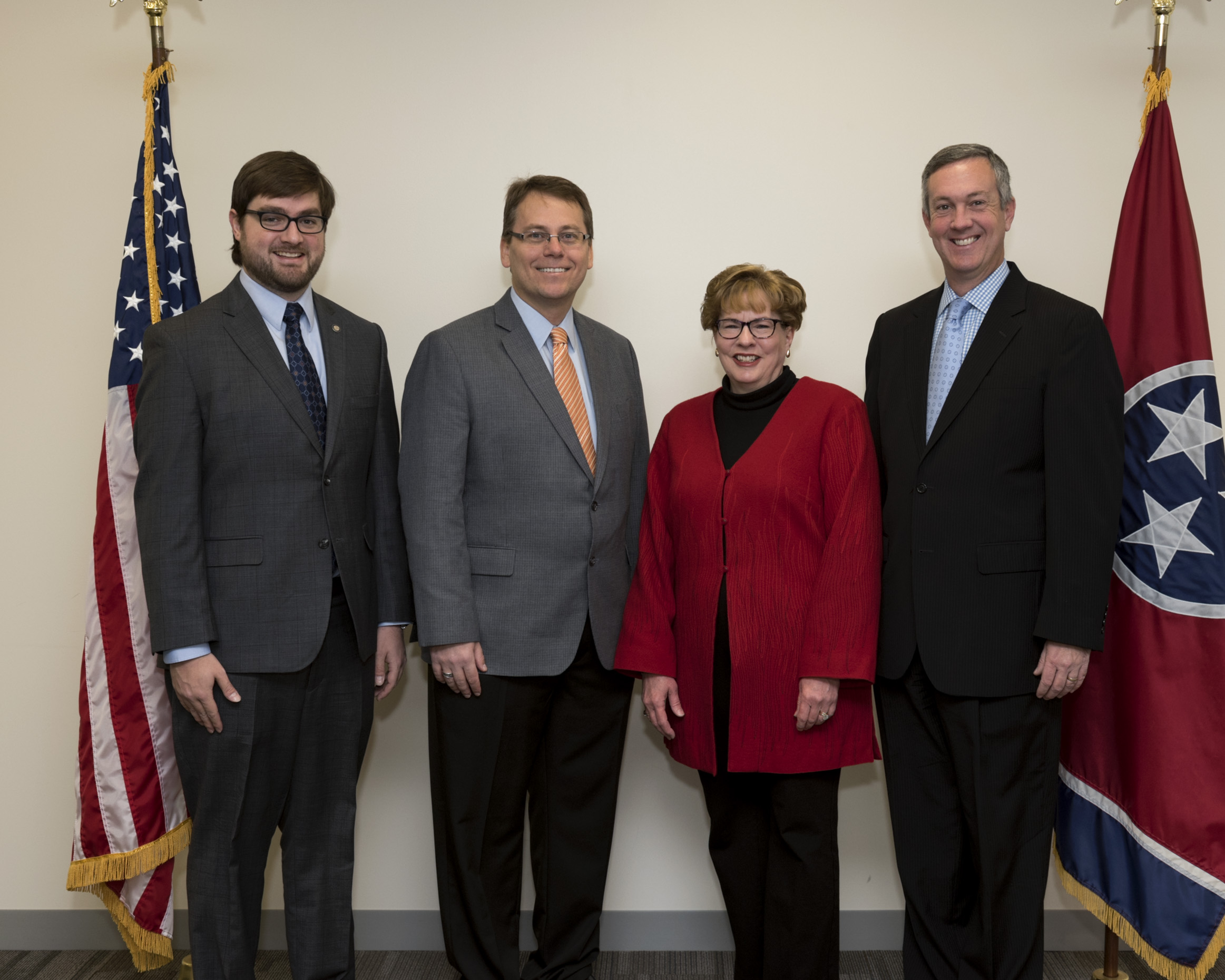 L to R: Elections Attorney Andrew Dodd, Coordinator of Elections Mark Goins, Shelby County Administrator of Elections Linda Phillips and Secretary Hargett Dec. 20, 2016.