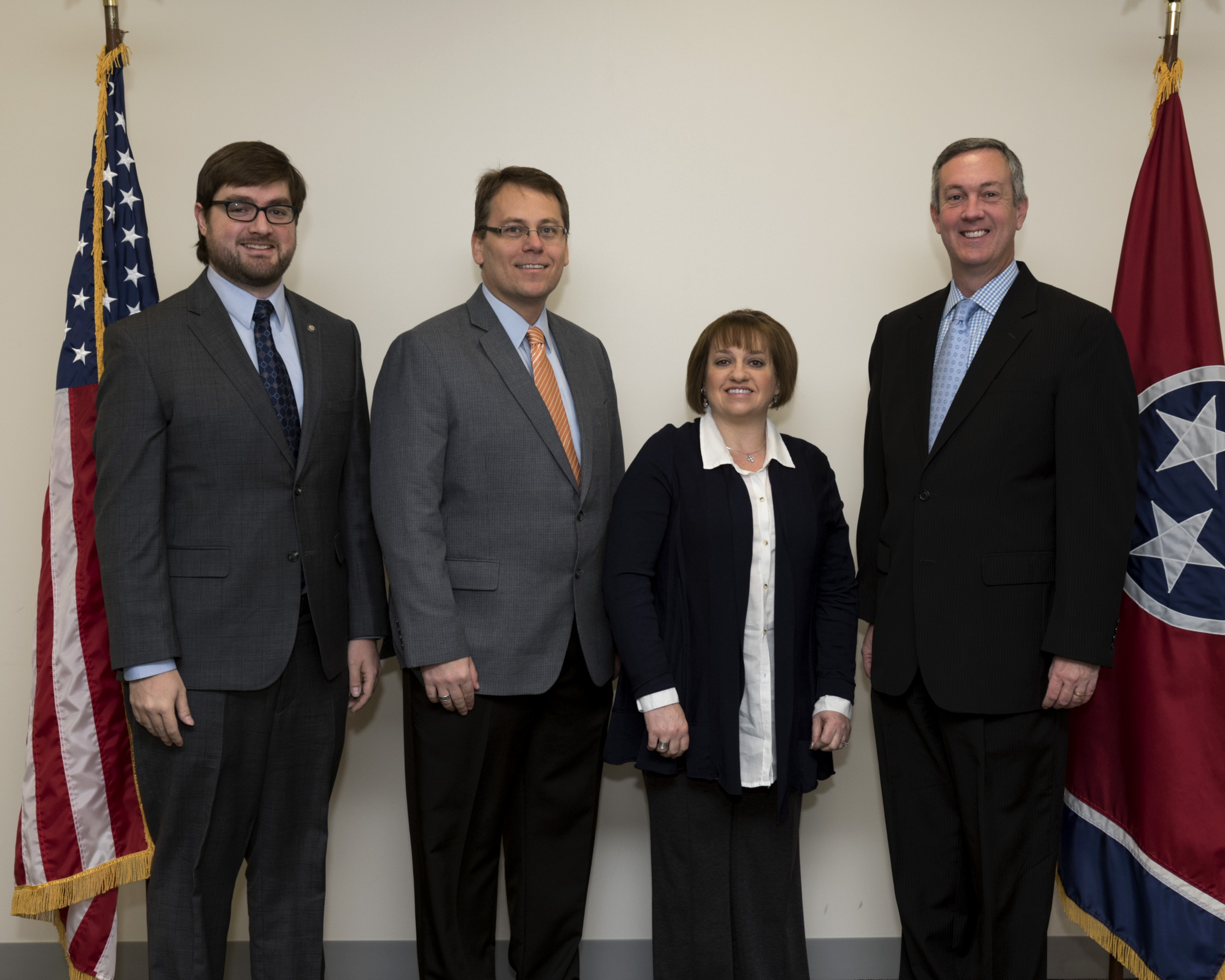 L to R: Elections Attorney Andrew Dodd, Coordinator of Elections Mark Goins, Tipton County Administrator of Elections Cindy Pinner and Secretary Hargett Dec. 20, 2016.