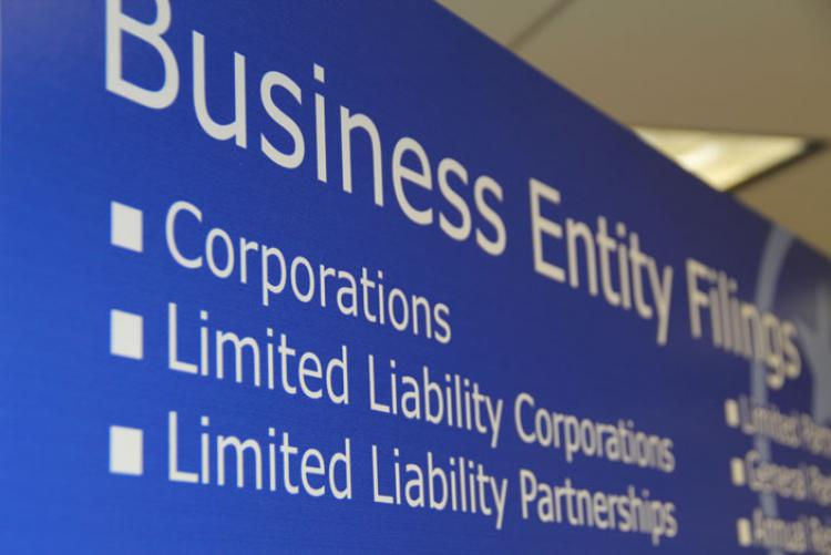 Sign that says Business Entity Filings, Corporations, Limited Liability Corporations, Limited Liability Partnerships