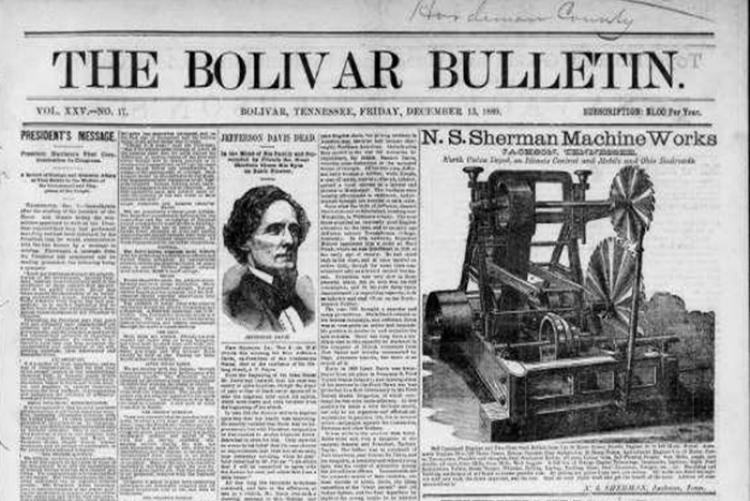 image of the front page of The Bolivar Bulletin newspaper of Tennessee