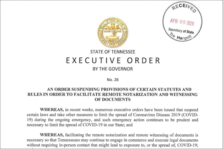 Temporary Online Notarizations via Executive Order