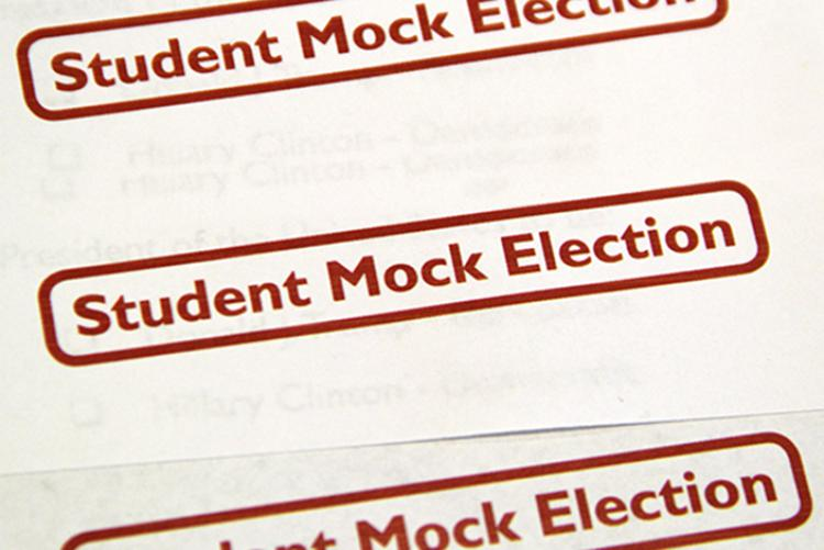 """The words """"Student Mock Election"""" in red repeated three times"""
