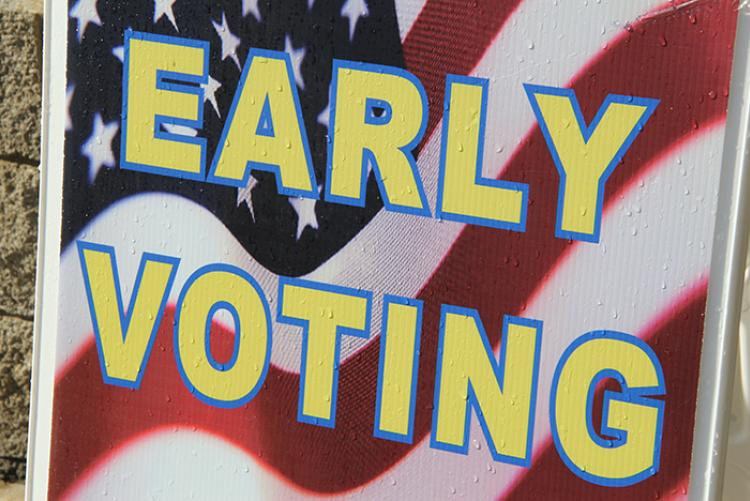 "Sign that says ""Early Voting"""