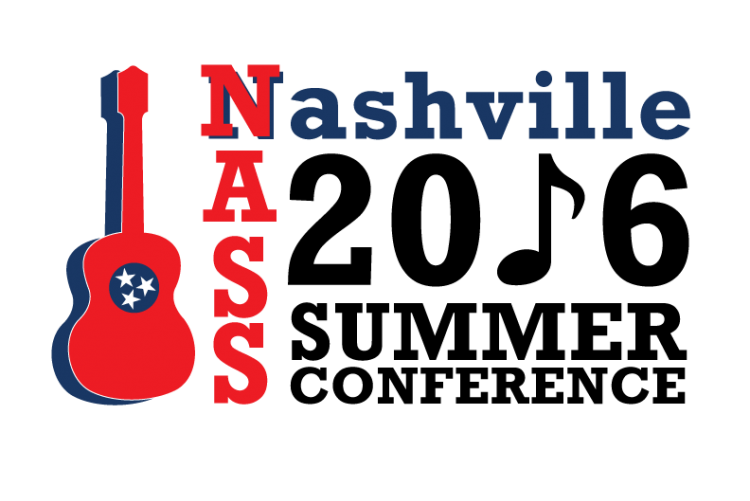 Logo showing a guitar with tri-stars that says NASS Nashville 2016 Summer Conference