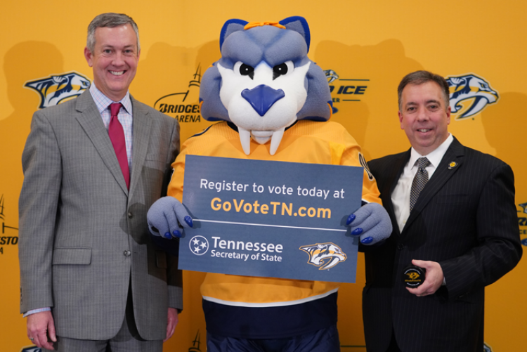 Secretary of State Tre Hargett, GNASH and Nashville Predators President & CEO Sean Henry