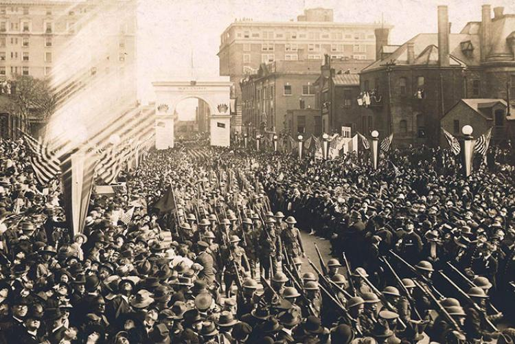 picture of returning World War 1 soldiers in Nashville