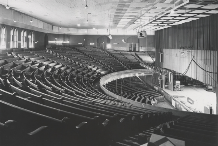 Black and white photo of Ryman Auditorium