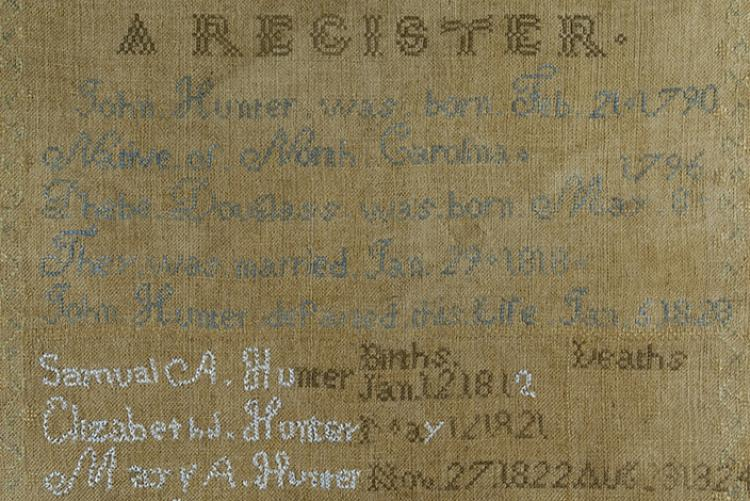Family register made by Elizabeth Jane Hunter of Knox Co. in 1836