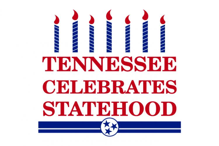 Logo that says Tennessee Celebrates Statehood which resembles a birthday cake with candles on top