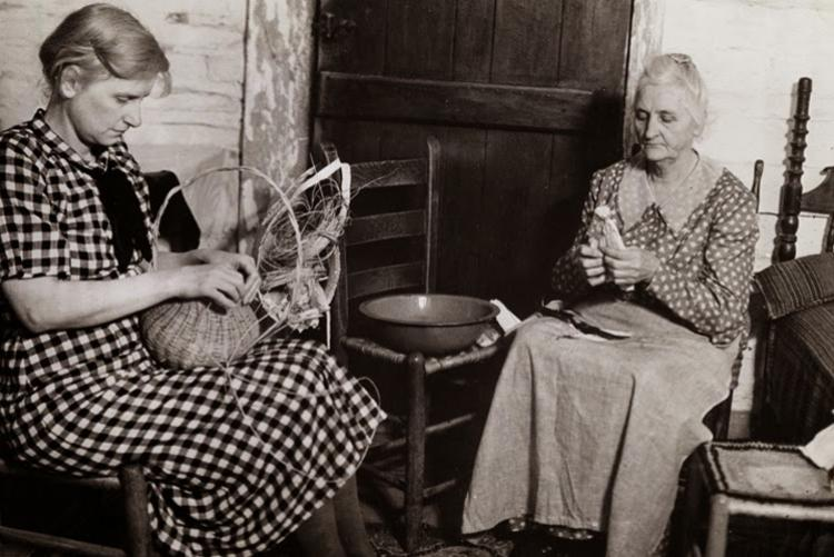 Two Women Making Corn Shuck Dolls and Buckets