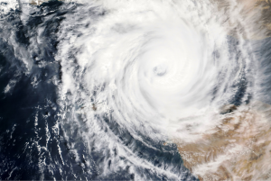 Satellite image of hurricane from space