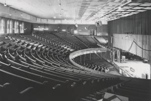 Black and white photo of Ryman Auditorium