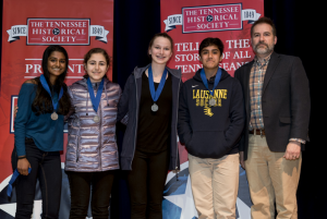 Lausanne Collegiate School students accept second place medals at Tennessee History Day 2018